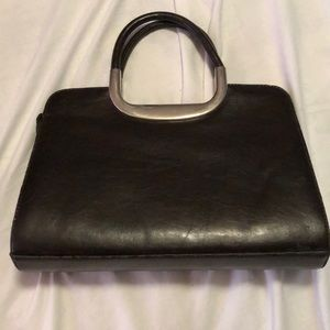Vintage leather brownish black handbag